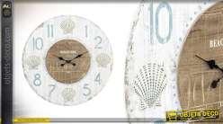 Grande horloge murale en bois Beach Avenue 79 cm