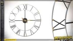 Grande horloge en métal noir de style moderne 90cm