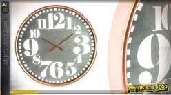 Horloge en métal de 67cm en métal gris et couleur cuivre brossé