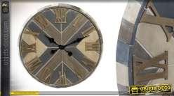 Grande horloge en bois de différentes couleurs 71 cm