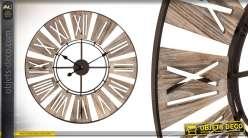 Horloge murale de style indus en bois 70 cm