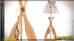 Lampe de salon en bois déco rames de bateau 45 cm