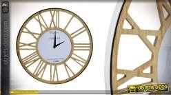 Horloge en bois et métal brillant de 40 cm style industriel