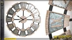 Grande horloge ambiance cave à vin en bois et métal 70 cm