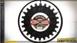 Grande horloge en métal roue dentée Coffee House Ø 80 cm
