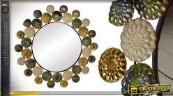 Miroir rond de 94cm en métal de style indus Mandala Design