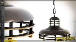 Suspension de style industrielle en métal brun vieilli Ø 33 cm