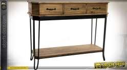 Console de style industriel et rustique en bois et métal
