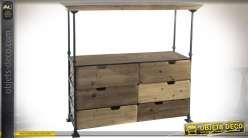 Console étagère de style rustique et industriel avec 6 tiroirs