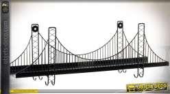 Etagère murale en forme de pont suspendu en métal 60 cm