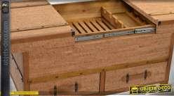 Grand coffre meuble cave en bois et métal avec 2 tiroirs
