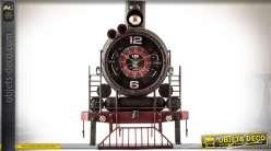 Décoration murale en métal train à vapeur avec horloge 48 cm