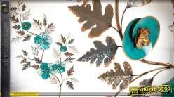 Grande décoration murale fleurie turquoise et or 132 cm