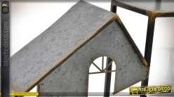 Etagère murale métal silhouettes de maisons acier galvanisé 120 cm