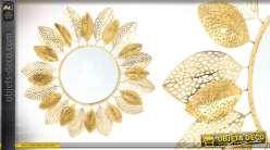 Miroir soleil en métal doré 91 cm orné de feuilles