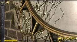 Grand miroir de 93 cm de diamètre en métal finition doré de style industriel