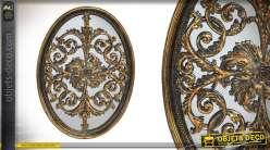 Miroir baroque en résine patine or vieilli de 47 cm