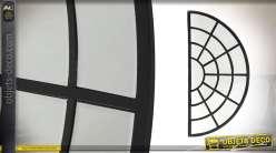 Grand miroir-fenêtre d'atelier demie lune en métal 110 cm