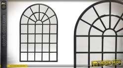 Grand miroir-fenêtre d'atelier en métal noir 120 cm