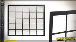 Grand miroir-fenêtre rectangulaire en métal noir style atelier de 96 cm