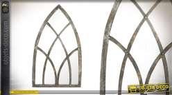 Miroir style arche pointue en bois effet vieilli 151cm