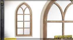 Grand miroir en bois effet brossé style fausse fenetre 135cm