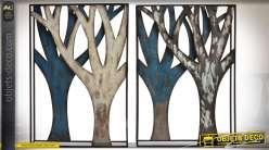 Décoration murale en diptyque en métal et en relief à motifs d'arbres