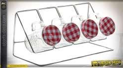 Distributeur à épices en métal avec 4 ports en verre