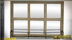 Miroir rectangulaire à carreaux en bois et métal style indus 52 cm