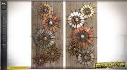 Décoration murale en diptyque en bois et métal 80 x 70 cm