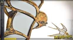 Série de 3 hirondelles en métal doré effet vieilli et miroir de 40 cm de longueur