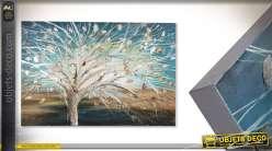 Grande peinture peinte à la main Brocéliande avec relief métal 150 cm