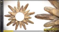 Miroir rond en bois de style rustique 53 cm