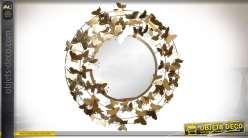 Grand miroir rond en métal 92 cm cerclé de papillons brillants
