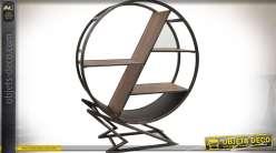 Bibliothèque étagère circulaire de style design bois et métal