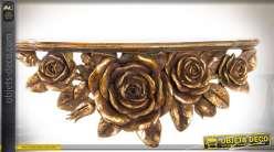 Etagère murale de style baroque et fleuri finition vieil or 47 cm