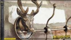 Porte-manteaux mural en métal à motifs de têtes de cerfs 50 cm