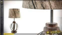 Lampe de table en métal imitation bois de 56 cm