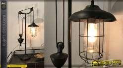 Lampadaire style lanterne industrielle en verre et métal de 71cm