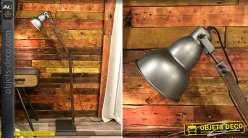 Lampadaire en bois et métal de style industrialo moderne, finition acier effet brossé et intérieur cuivrés 150cm