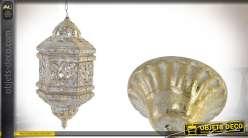 Lanterne suspendue en métal finitions blanches dorées 50 cm