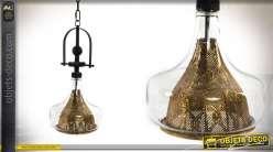 Suspension moderne en métal doré et verre de 54 cm
