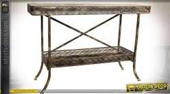 Console à 2 plateaux en métal style industriel effet vieilli