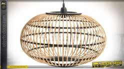 Suspension exotique ovale en bambou naturel et métal Ø 48 cm
