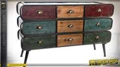 Commode à 9 tiroirs de style industriel et vintage