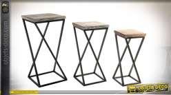 Série de 3 tables hautes en bois et métal de style atelier épuré