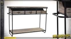 Grande console en bois et métal 3 tiroirs effet vieilli 117 cm
