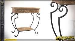 Console aux angles arrondis en bois et métal de 63 cm