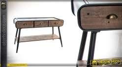Console en bois et métal de style industriel 75cm de haut