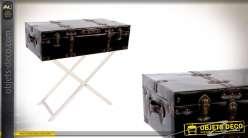 Console style valise de voyage sur pieds couleur chocolat et pointes dorées